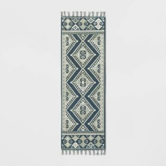 "2'4""X7' Diamond Woven Accent Rug Navy - Threshold™"