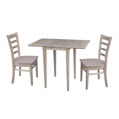 Jemma Small Dual Drop Leaf Table and 2 Chairs Dining Sets Taupe - International Concepts