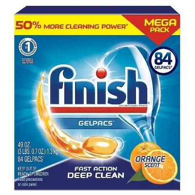 Finish Gelpacs Dishwasher Detergent, Orange Scent, 84ct