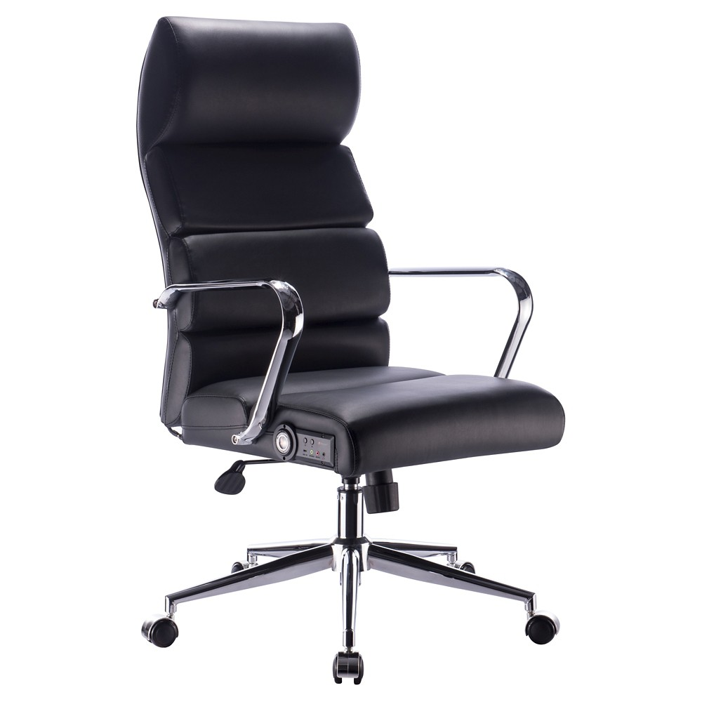 Deluxe Executive Office Chair with Sound - Black & Chrome - X-Rocker