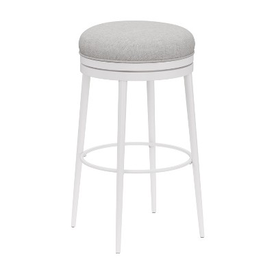 "Aubrie Backless 26"" Swivel Counter Height Barstool Off White/Silver - Hillsdale Furniture"