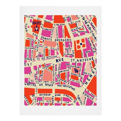 "Holli Zollinger Paris Map Pink Art Print 8"" x 10"" - Deny Designs"