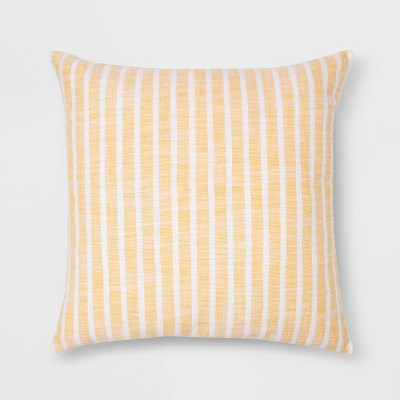 Woven Stripe Square Pillow Yellow/White - Threshold™
