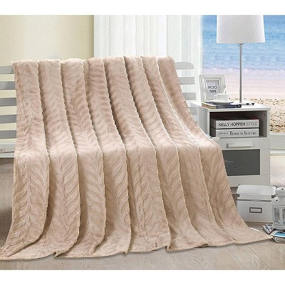 Ultra Comfy Microplush Leaf Etched Jacquard Blanket
