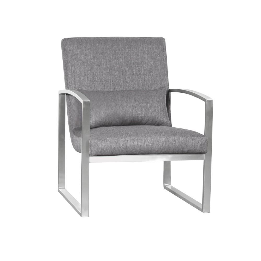 Armen Living Leonard Contemporary Accent Chair Gray
