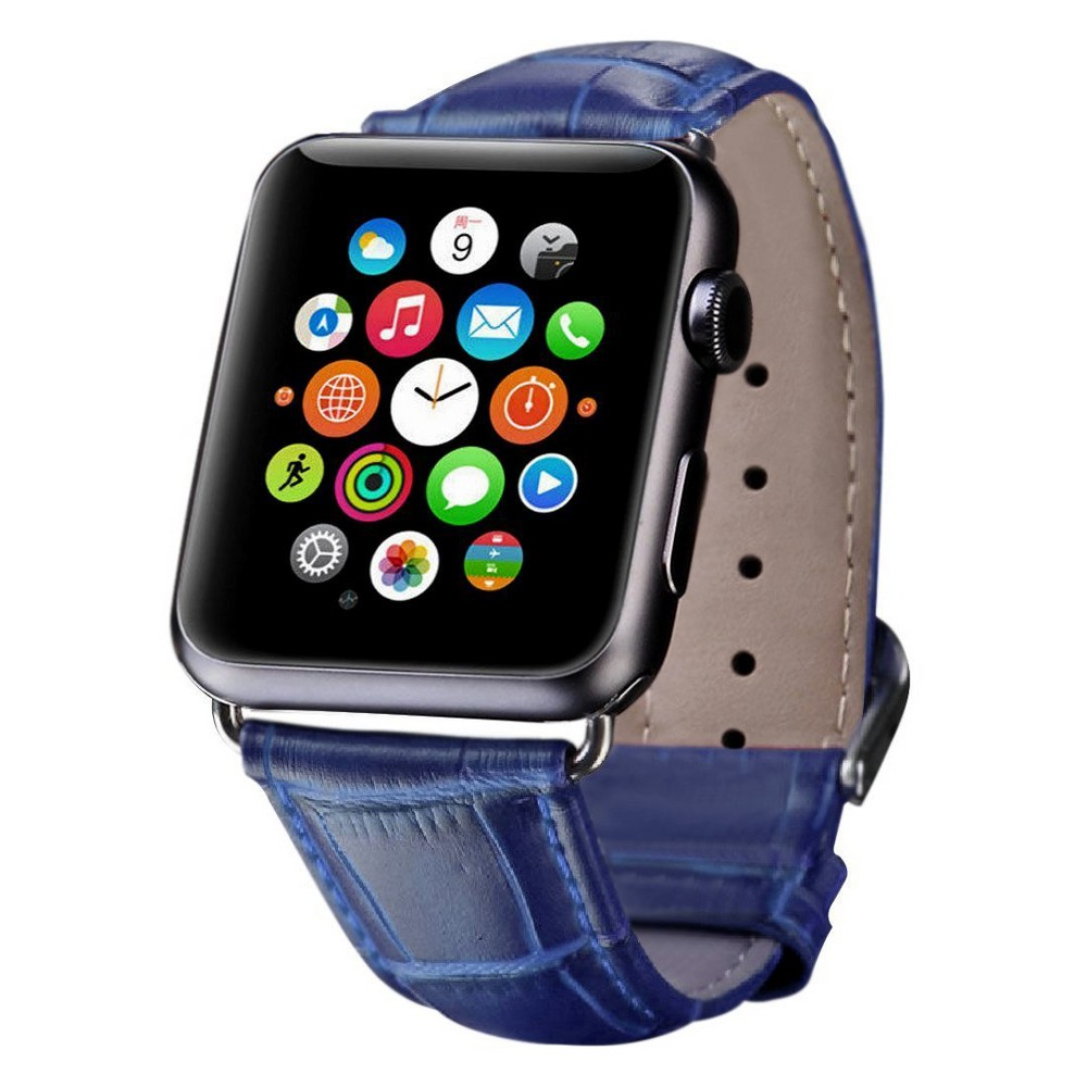 iPM Crocodile Leather Band for Apple Watch 42mm - Blue, Adult Unisex