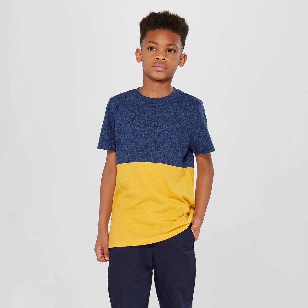 Boys' Short Sleeve T-Shirt - Cat & Jack Navy/Yellow (Blue/Yellow) Xxl
