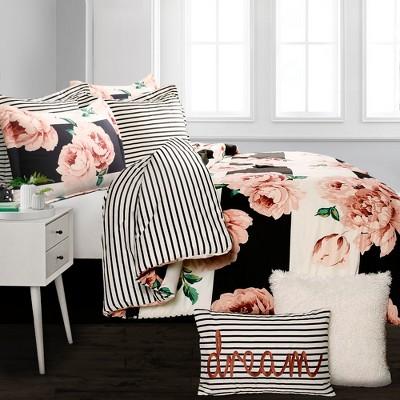 5pc Twin XL Amara Floral Comforter Set Black/Dusty Rose - Lush Decor
