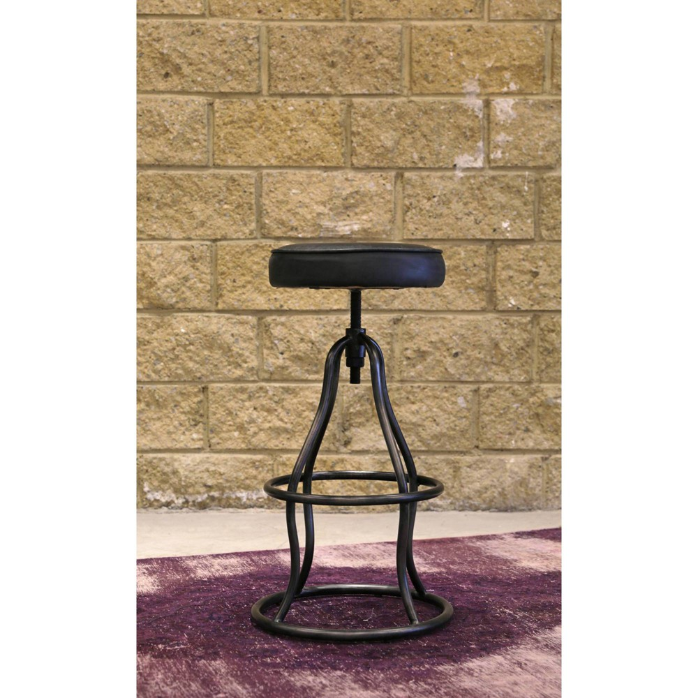 Image of Bowie Bar Stool Distressed Black Leather - Keswick