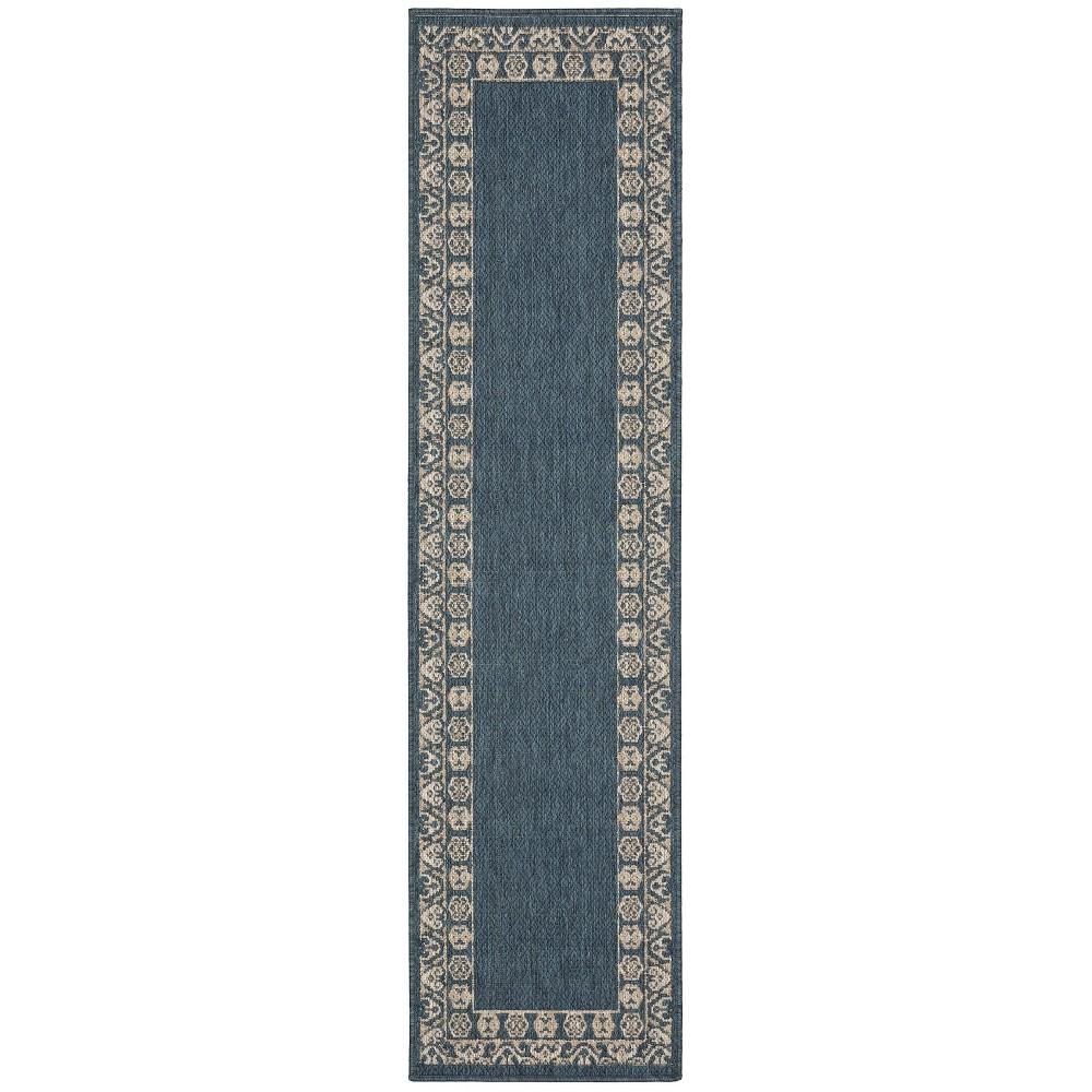 Landry Border Patio Rug Blue/Gray