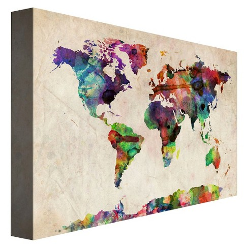 Urban Watercolor World Map By Michael Tompsett Ready To Hang Canvas