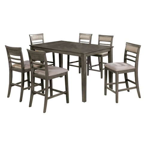 Iohomes Kinchen Transitional Style Counter Height Dining Table 7pc Set Gray Homes Inside Out Target