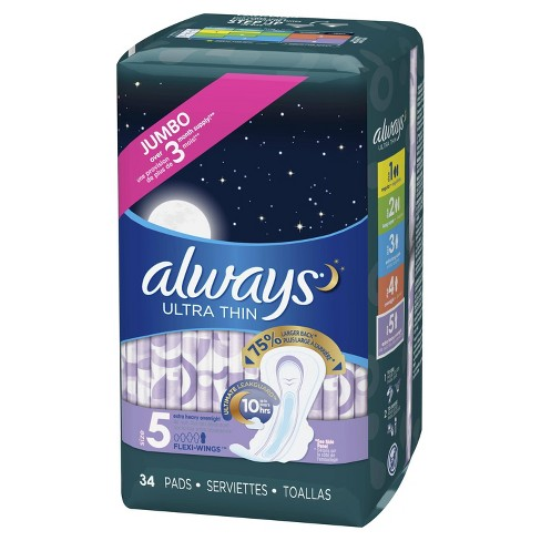 Always Ultra Thin Extra Heavy Overnight Pads - Size 5 - 34ct - image 1 of 4