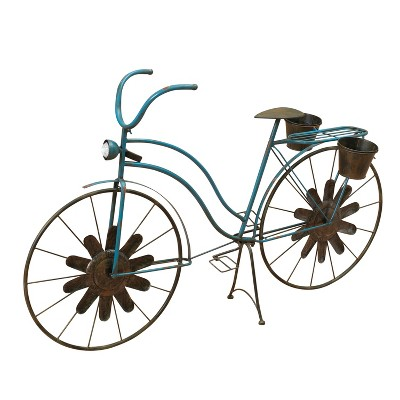Gerson International 53-Inch Long Solar-Powered Metal Antique-Style Bicycle Plant Stand With Wind Spinner Spokes