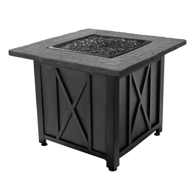 Endless Summer 30 Inch Square 30,000 BTU Liquid Propane Gas Outdoor Fire Pit Table w/ Push Button Ignition, Black Fire Glass, & Steel Fire Bowl, Black