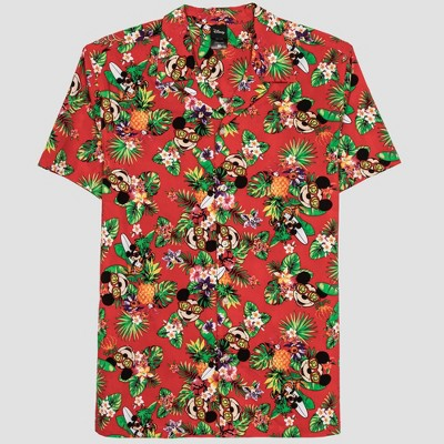 Men's Disney Mickey Mouse Short Sleeve Button-Down Shirt - Red