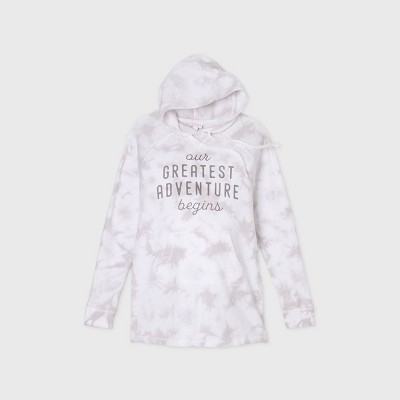 "Maternity ""Our Greatest Adventure Begins"" Tie-Dye Hooded Kanga Pocket Sweatshirt - Isabel Maternity by Ingrid & Isabel™ Gray XXL"