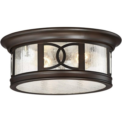 """John Timberland Modern Outdoor Ceiling Light Fixture Mission Oil Rubbed Bronze Drum 12"""" Seedy Glass Damp Rated for Porch Patio"""
