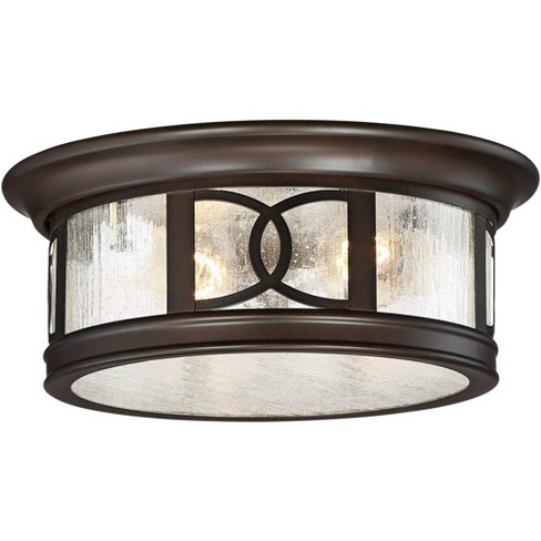 """John Timberland Modern Outdoor Ceiling Light Fixture Mission Oil Rubbed Bronze Drum 12"""" Seedy Glass Damp Rated for Porch Patio - image 1 of 4"""