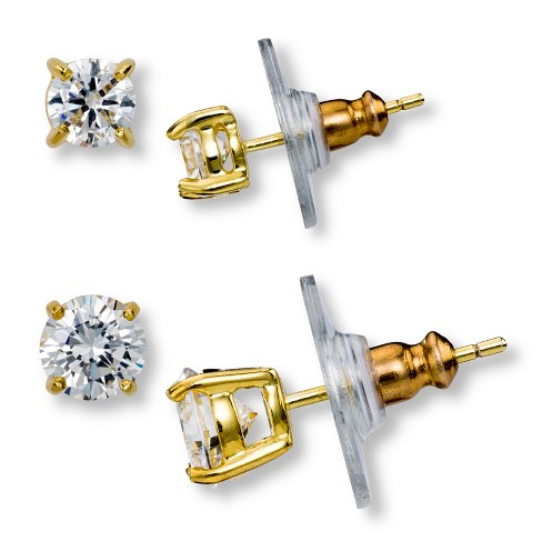 Gold Plated Cubic Zirconia Round Stud Earrings Set - image 1 of 1