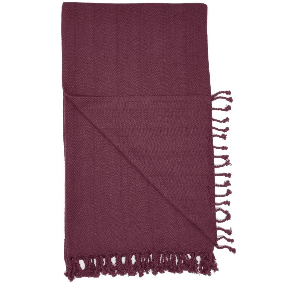 Image of Dot WovenThrow Blanket Burgundy - Nourison