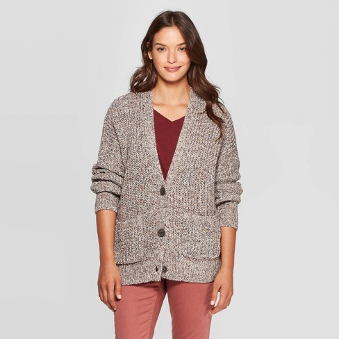 Women's Long Sleeve V-Neck Cardigan Sweater - Universal Thread™ Gray - image 1 of 3