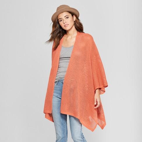 187606d23 Women s Open Knit Duster Poncho Sweater - Universal Thread™ Rust ...