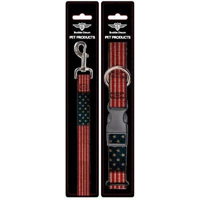 American Flag - Buckle-Down Dog Leash & Collar Set - L