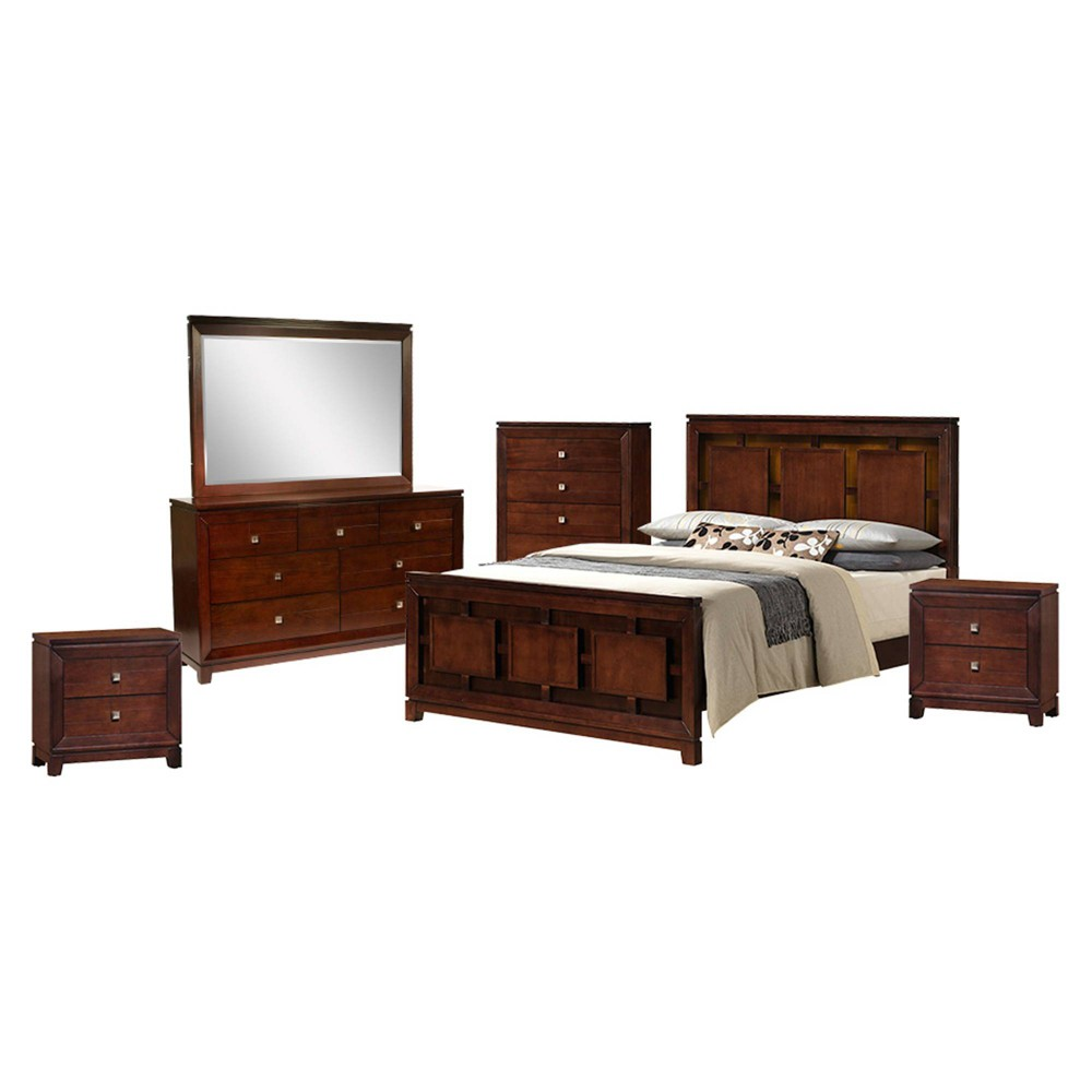 6pc King Easton Panel Bedroom Set Cherry - Picket House Furnishings, Red