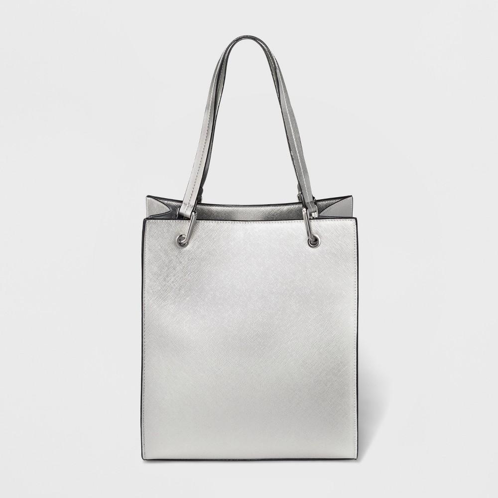 Square Saffiano Tote Handbag - A New Day Silver, Women's, Size: Small