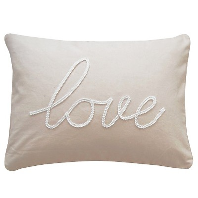 Taupe Love Throw Pillow (14 X18 )- Homthreads™