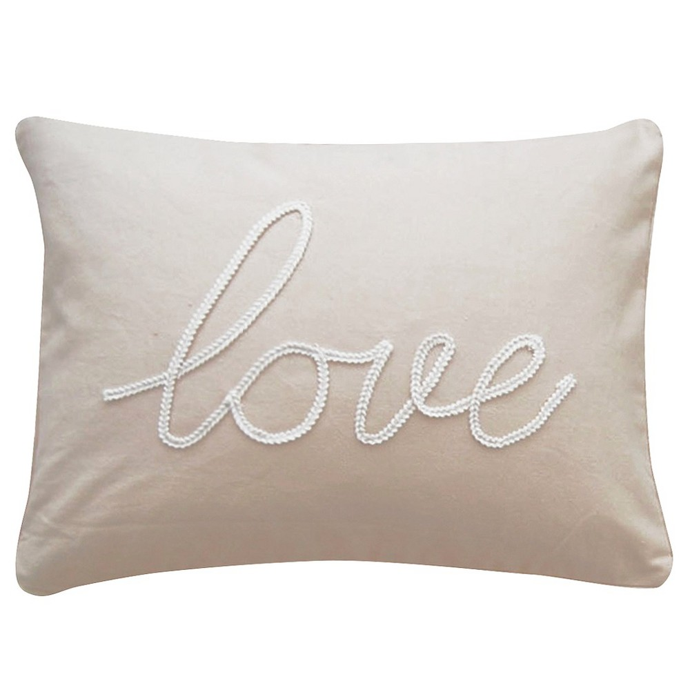 """Image of """"Taupe Love Throw Pillow (14"""""""" X 18"""""""") - Homthreads, Brown"""""""