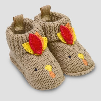 Baby's Knitted Turkey Slipper - Just One You® made by carter's Tan 0-12M
