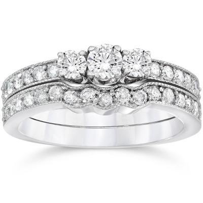 Pompeii3 3/4ct Three Stone Vintage Diamond Engagement Wedding Ring Set 10K White Gold