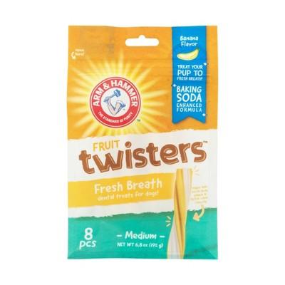 Arm & Hammer Twisters Banana Flavor Chewy Dog Treats - 8ct