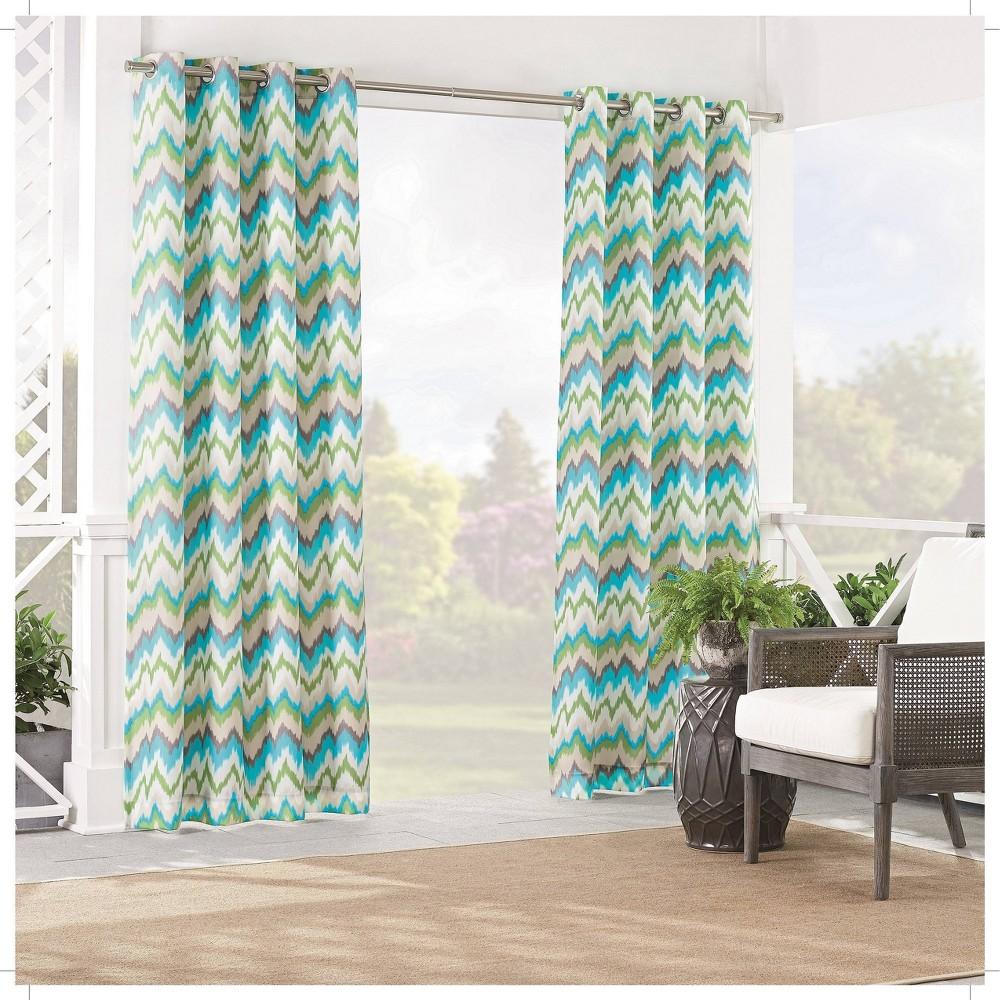 "Image of ""84""""x52"""" Borderline Light Filtering Curtain Panel Blue - Waverly Sun n Shade"""
