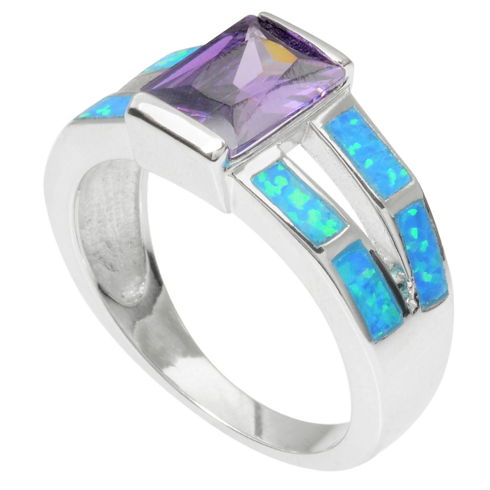1 1/2 CT. T.W. Emerald-cut CZ Basket Set Opal Ring in Sterling Silver - Purple, 7, Girl's