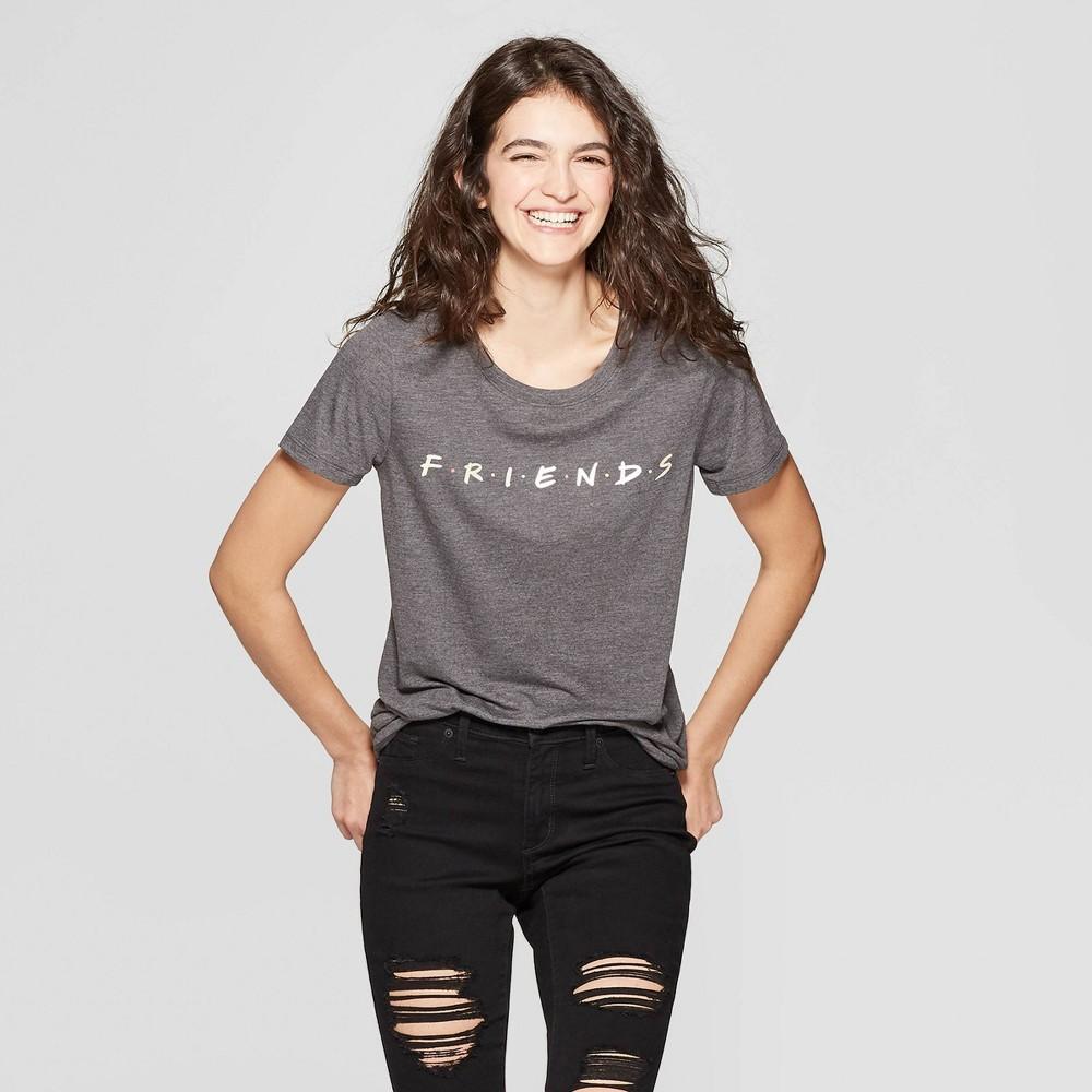 Women's Friends Short Sleeve T-Shirt - (Juniors') - Charcoal L, Gray
