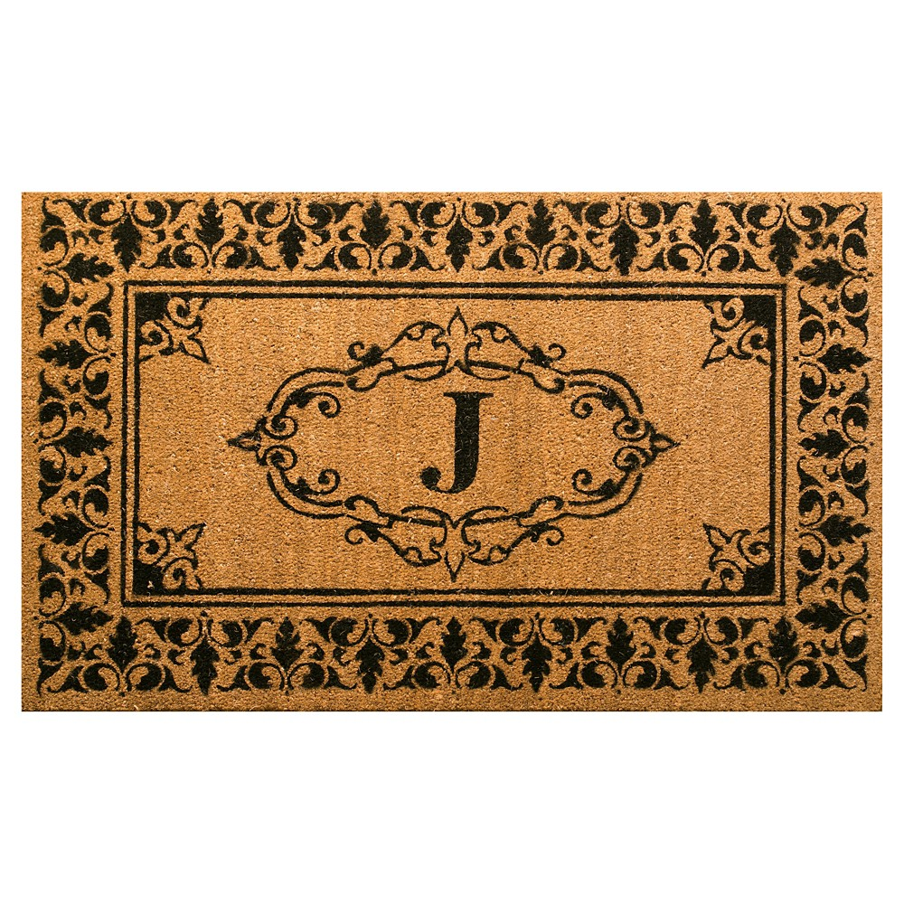 nuLOOM Monogrammed Doormat - Letter J (2' 6 x 4'), Light Brown - J