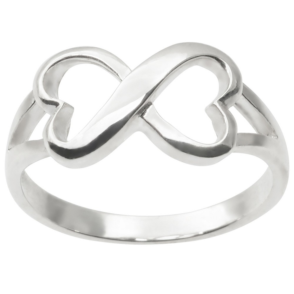 Journee Collection Infinity Heart Accent Ring in Sterling Silver - Silver, 6, Girl's