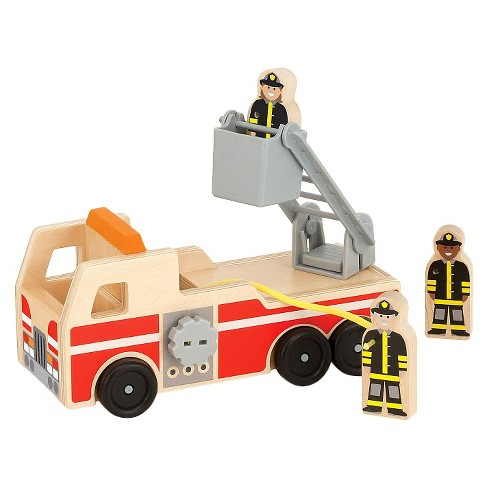 Melissa & Doug® Wooden Fire Truck With 3 Firefighter Play Figures - image 1 of 3