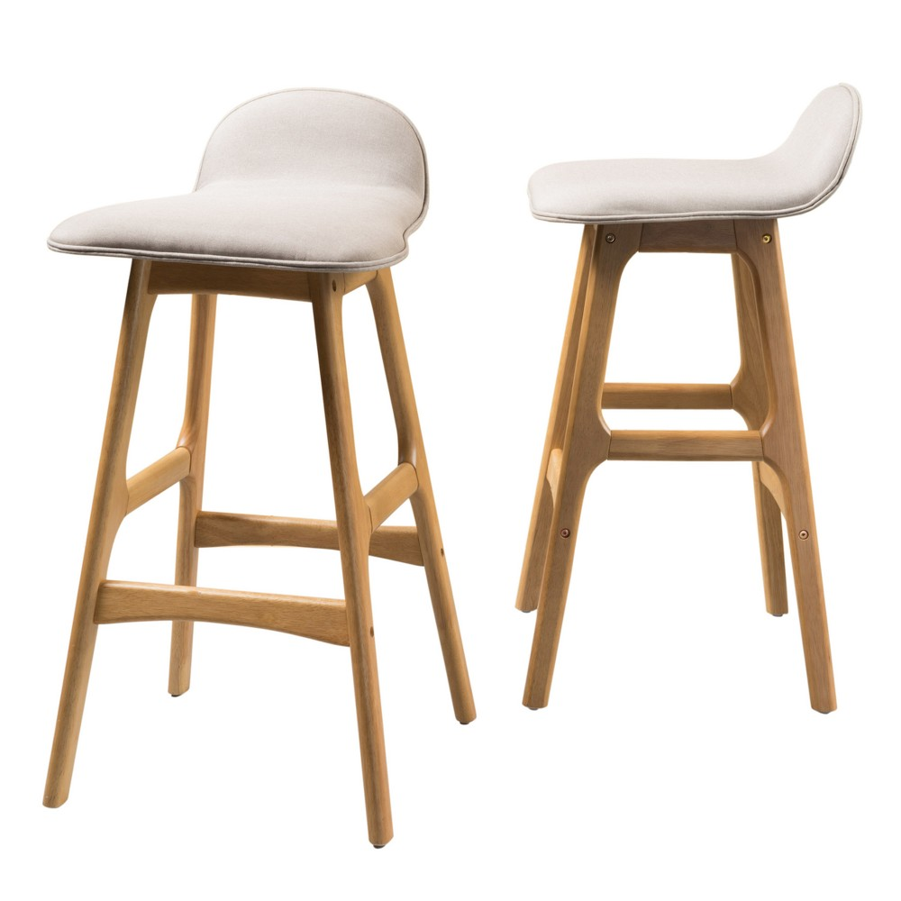 Set of 2 Anatoli Bar Chair Beige - Christopher Knight Home