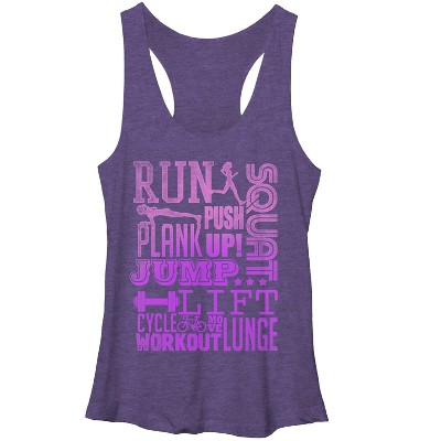 Women's CHIN UP Run Squat Jump Workout Racerback Tank Top