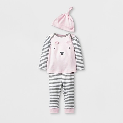 Baby Girls' 3pc Bear Top and Bottom Set with Hat - Cloud Island™ Pink 0-3M