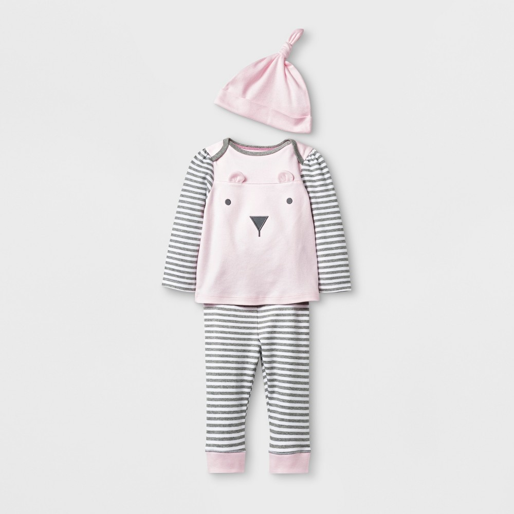 Baby Girls' 3pc Bear Top and Bottom Set with Hat - Cloud Island Pink 0-3M