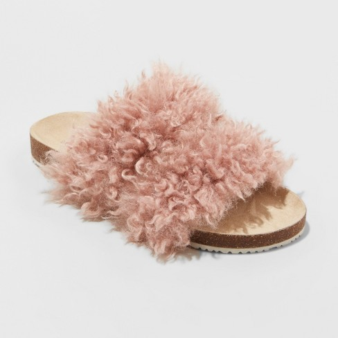 Women s Ember Two Band Faux Fur Slide Sandals - Universal Thread ... ff3d33e414
