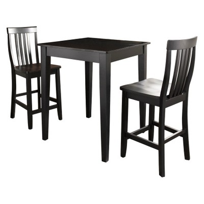 3 Piece Pub Dining Set with Tapered Leg and School House Stools - Black Finish - Crosley