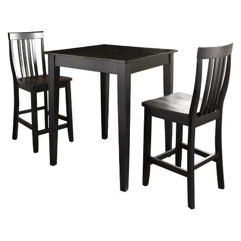 3 Piece Pub Dining Set with Tapered Leg and School House Stools - Crosley - image 1 of 5