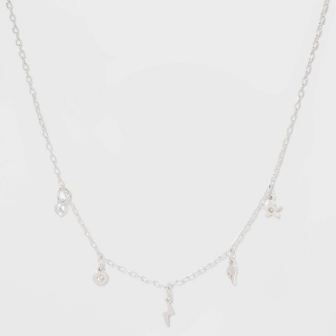 Five Charms Short Necklace - Silver - image 1 of 3