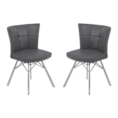 Spago Contemporary Dining Chair Set of 2 in Vintage Leather with Brushed Stainless Steel Finish - Armen Living - image 1 of 4